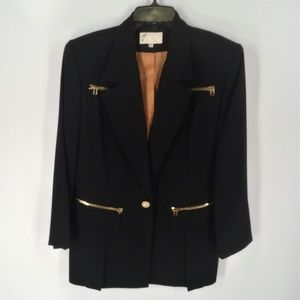 Cache black exposed gold zippered blazer sz 8